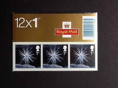 GB 2003 LX25 Christmas barcode booklet 12 x 1st class s/a MNH stamps.