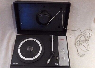 Tourne disque PHILIPS 504, all transistor ancien, fonctionnel. A1196