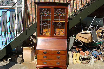Arts and crafts bureau bookcase,mahogany,leaded glass doors