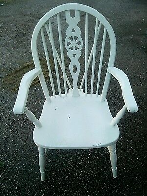 Vintage Wood Wooden Carver Armchair Arm Chair White Shabby Chic Dining