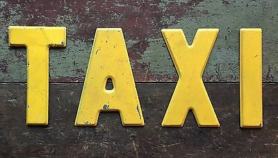 "Vintage Industrial Marquee Advertising Sign 7 1/2"" Metal Letters TAXI"