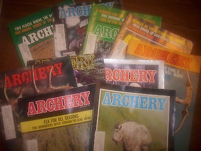 vintage bowhunting magazine, 1977 ARCHERY, 10 issues..