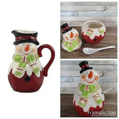 Christmas Set of 2 Snowman Mug Tea Pot & Sugar Bowl Xmas tableware
