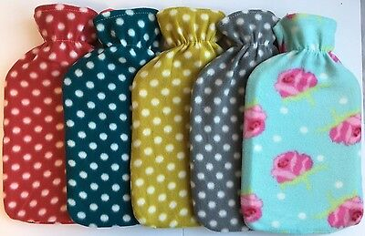 New Soft Warm 2Liter Large Hot Water Bottles With Removable Dotted Fleece Covers