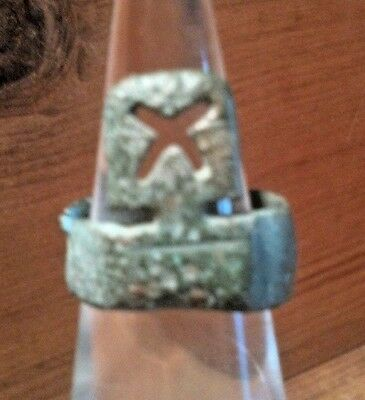 Ancient Roman Ring Key Rare Artifact Safe, Door Unusual X Tab With Unique Band