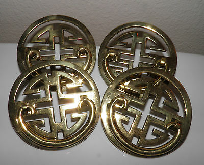 4 Vintage Heavy Brass Asian Oriental Round Drawer Handles 3.5 in Dia Price 2 Cel