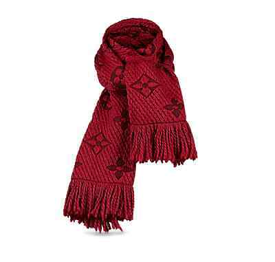 AUTHENTIC LOUIS VUITTON SCARF - Logomania Luxury Red Wool and Silk Womens Scarf