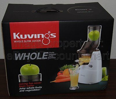 NEW Kuvings Whole Slow Juicer White B6000W Wide Mouth Feeding Tube