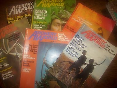 vintage bowhunting magazine, 1975 ARCHERY WORLD ...full year...6 issues