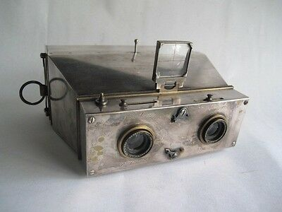 Stereo   Hermagis Micro Jumelle - Rare  Stereo  Camera  Lacquered In Silver
