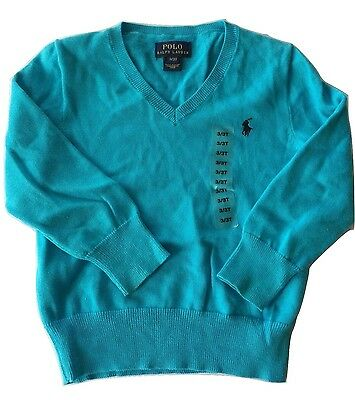New $55 Polo Ralph Lauren Baby Boys Bright Blue V-Neck Sweater Size 3T