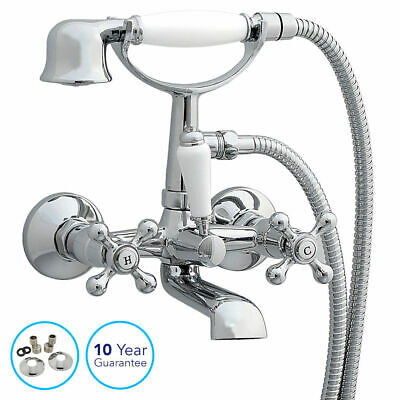 Chrome Traditional Cross Handle Bath Filler Mixer Taps Shower Wall Mounted