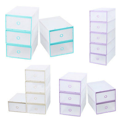 5 Stackable Home Storage Boxes Clear Plastic Shoe Box Office Organiser Drawer UK