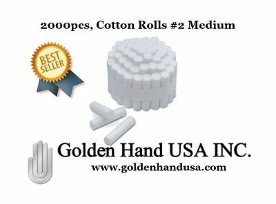 "2000 pcs Dental COTTON ROLLS (#2) 1-1/2"" x 3/8"" MEDIUM - US SELLER"