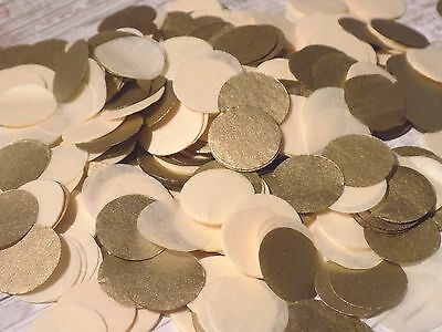 1000 vintage romantic tissue paper Circle confetti Cream and Gold wedding