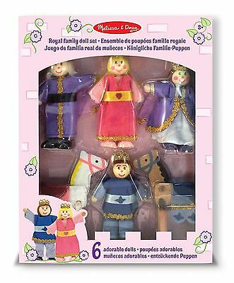 Melissa & Doug Royal Family Wooden Poseable Doll Set for Castle and Dollhouse...