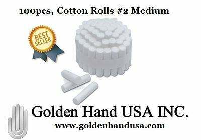 100 pcs Dental COTTON ROLLS #2 MEDIUM - US SELLER