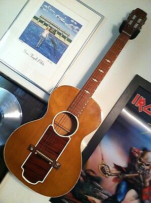 Vintage acoustic Hawaiian slide guitar Global Oahu Kluson USA Art Deco 1950's