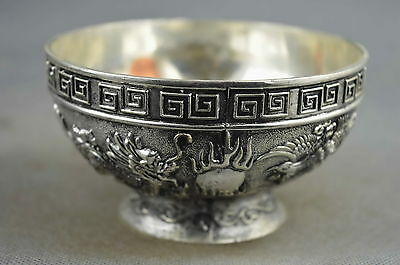 Collectible Old Miao Silver Carve Dragon & Phoenix Play Bead Exorcism Lucky Bowl