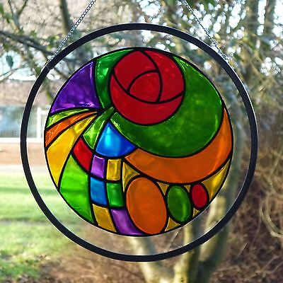 Stained Glass Rennie Mackintosh Style Roundel Suncatcher/ Brand New