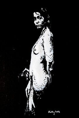 Original nude acrylic fine art drawing signed  terence Kelly Fine art