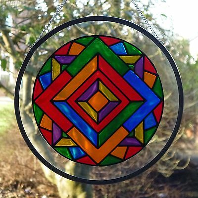 Stained Glass Mandala Roundel Suncatcher/ Brand New
