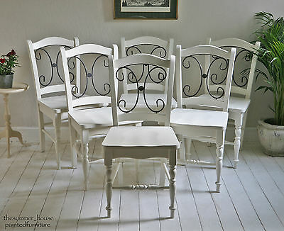 Vintage Kitchen Dining Shabby Chic Chairs Painted in Farrow & Ball, Set of 6