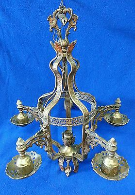 Antique Brass & Metal Chandelier Ornate with leaf design