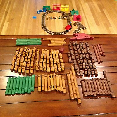 Lincoln Logs Mixed set 2-Car Train Tracks 5 people 3 animals 160 wood pieces
