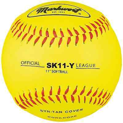 Markwort 11-Inch Synthetic Leather Cover Softball, Yellow