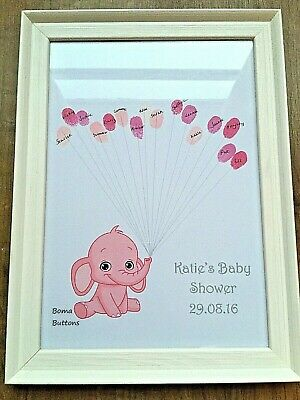 Personalised Baby Shower Print Fingerprint Keepsake With Ink pad - Elephant