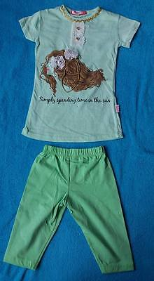 Girls light green top with beads/ribbons matching leggings age 4,made inTurkey