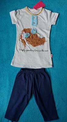Girls light blue top with beads/ribbons matching leggings age 4,made inTurkey