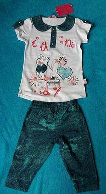 Girls cat white top/blue details with matching blue leggings age 4,made inTurkey