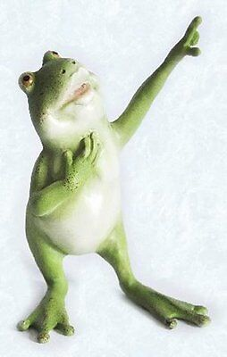 4.5 Inch Frog Standing Looking Up with Finger Pointing Figurine
