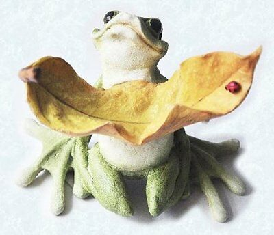 5 Inch Frog Lifting Brown Leaf with Lady Bug Collectible Figurine