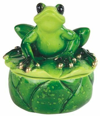 3.5 Inch Frog on Lily Pad Collectible Trinket Box, Green Color