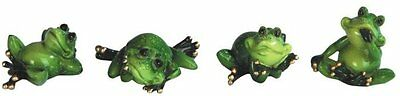Green Lazy Frogs Figurines Set of 4