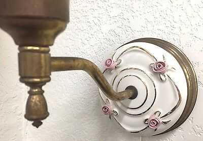 Vintage Ceramic & Brass Wall Sconce Light with Pink Roses