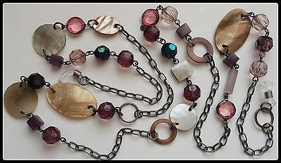 Hand Crafted Beaded Spectacle / Glasses Chain Necklace Pink Purple Rainbow Black