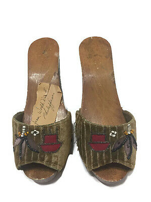 Antique 1945-1947 Hand Made Wooden Shoes From Philippines World War II Vintage