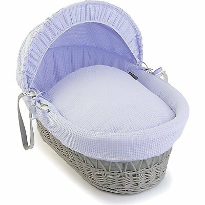 Luxury British Made Blue Moses Basket Replacement Covers/Dressing