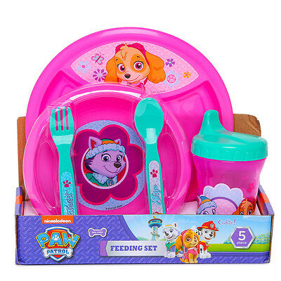 Paw Patrol 5 piece Feeding Set Pink Skye Everest Plate Bowl Sippy Cup BPA