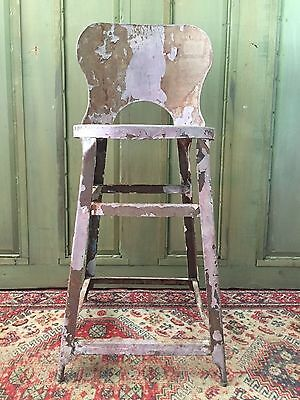 Vintage Metal INDUSTRIAL STOOL Machine Age STEAMPUNK Iron Drafting FACTORY Chair