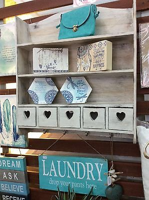 Country Kitchen hanging shelf with drawers and hooks - white wash hearts - Bali