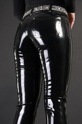 Latex caoutchouc Rubber Black Handsome Fashion Pants Size XS~XXL