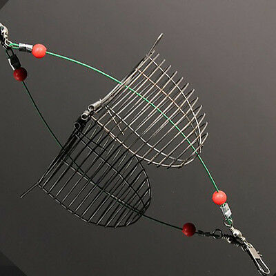 Fishing Stainless Explosion Hooks Trap Cast Cage Basket Bait Lure Feeder