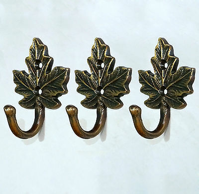 LOT OF 3 PCS Antique Vintage HOOK BRASS Autumn LEAF WALL Coat Hat Hanging Hooks