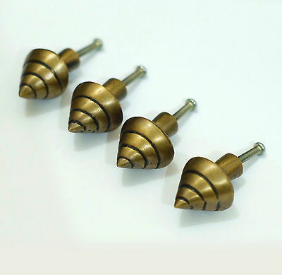 "1,61"" Lot of 4 pcs Vintage Retro Snail House Shell Solid Brass Cabinet Pull Knob"