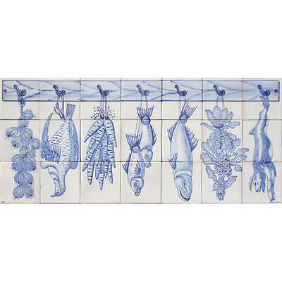 Portuguese Traditional Clay Azulejos Tiles Mural Panel CORREIO MOR BLUE KITCHEN